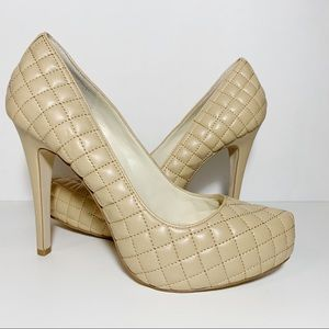 BCBG Beige Quilted Leather Platform Pumps